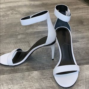 White Kendall and Kylie Velcro strap heels